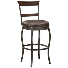 """Riverton 26"""" Antique Whiskey Leather Swivel Counter Stool - Style # 9T693"""