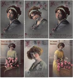 6x-Postcard-Beautiful-Girl-Woman-Glamour-Real-Photograph-Collection-Birthday