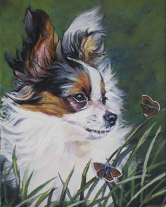 Papillon Dog art print CANVAS print of LA Shepard by TheDogLover