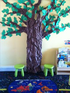 Tree that I made in my classroom. It's bulletin board paper all scrunched up. It's stuffed to make it 3-D. We call it the peaceful tree. Children are encouraged to sit by the tree when they are in trouble, sad, angry, tired, etc. There is a library & clipboards for kids to write/draw their feelings.