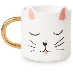 Saskia Cat Mug | All | Oliver Bonas ($16) ❤ liked on Polyvore featuring home, kitchen & dining, drinkware, kitty mug, cat mug and kitty cat mug