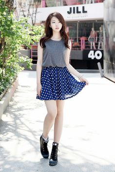Ulzzang Fashion Summer Fashion Style Dots Skirts