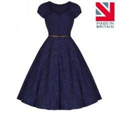 'Victoria' Blue Jacquard Swing Dress