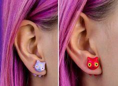 Cats and Pop Culture: a Sooo Cute Cat Earrings Collection by Rita aka Catmadecom #jewelry #cats #earrings #polymerclay #handmade #kawaii #catmadecom #cute