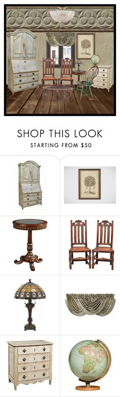 """antique paradise"" by lucieednie ❤ liked on Polyvore featuring interior, interiors, interior design, home, home decor, interior decorating, Ethan Allen, Fine Furniture Design, Lite Source and J. Queen New York"