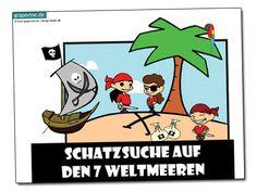 In dieser #Schatzsuche lassen Sie die Kinder eine Segeltour über die 7 Weltmeere unternehmen. Sie treffen dabei auf Piraten, Papageien, wilden Tieren, einer Wahrsagerin und vielen anderen! Mehr lesen Sie auf: http://www.grapevine.de/pdf/piratenschatzsuche-schnitzeljagd-auf-den-7-weltmeeren-4-6-jahre