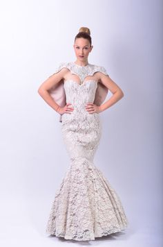 https://www.cityblis.com/9822/item/10217 %0ACelimene Mermaid Wedding Dress - $500 by Laura Galic %0AThis is a very elegant and flattering wedding dress.it is perfect if you want a simple and comfortable shape. i used a satinated cotton underneath the lace that has a bit of a stretch to it to ensure the most comfortable fit. it's doubled with cotton ivory lace. the shoulders are covered with a uniq...
