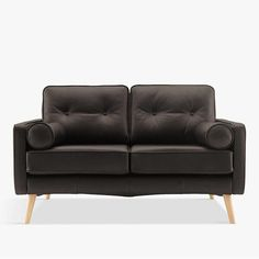 Small two seater black leather sofa. This G Plan, mid-century style tiny sofa is perfect for compact spaces and apartments.
