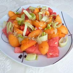 Recept na melounový salát s meruňkami a zázvorovou zálivkou krok za krokem