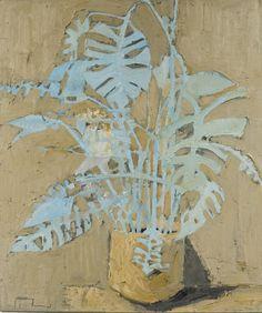 Blue Leaf on Ochre, 2017 Painting Inspiration, Art Inspo, Abstract Flowers, Abstract Art, Street Art, Oil Canvas, Art Folder, Still Life Art, Arte Floral