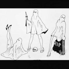 Ghost with legs Illustration von Emily Martinez - Totem tattoo - Totem Tattoo, Tattoo Drawings, Art Drawings, Ghost Drawings, Personajes Studio Ghibli, Ghost Tattoo, Witch Tattoo, Spooky Tattoos, Flash Art