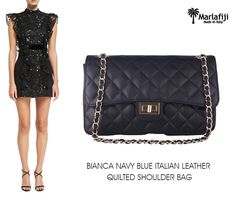 "Heading out to a concert, charity fundraiser, or a cocktail party completes your look with Marlafiji Bianca Navy Italian leather Quilted handbag.. 100% genuine leather, chic and timeless. A perfect bag for the races or the party season ...   Shop Now--à https://goo.gl/8toFQ3  ""FREE SHIPPING WITHIN AUSTRALIA""!! #Marlafiji #TopModel #Italian #leatherhandbags"