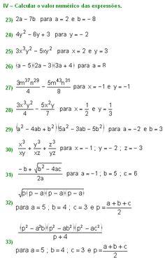 Expressões Algébricas - Álgebra - Matemática Muito Fácil