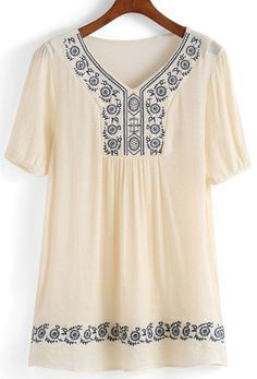 V Neck Embroidered Shift Dress Kurta Designs Women, Blouse Designs, Blouse Models, Embroidery Suits, Embroidered Clothes, Western Dresses, Blouse Dress, Womens Fashion Online, Look