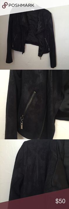 Olivaceous Black Suede Moto Jacket *Only categorized w Free People for views* Olivaceous is the brand - great condition faux suede black moto jacket. Fits size 0-4 comfortably. No trades. Free People Jackets & Coats