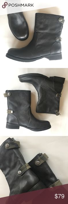 NEW KENSIE black camo leather moto ankle boots 6 NEW in box with tags. Leather upper, back zip, camouflage detail straps snap over the zipper. Nifty little pair of comfy boots. Kensie Shoes Ankle Boots & Booties