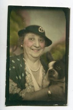 Lovely photo of woman holding her Boston terrier. Vintage Tinted Photobooth picture.
