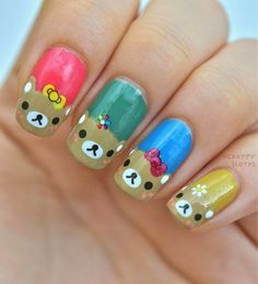 The Happy Sloths: Teddy Bear Nails: Manicure Featuring Water Decal Nail Stickers