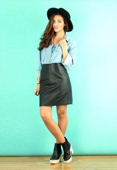 Vintage Leather A-Line Mini Skirt @asosmarketplace
