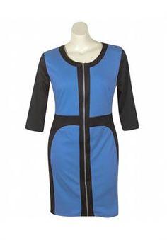 Royal Color Block Dress | Plus Size Dresses | OneStopPlus