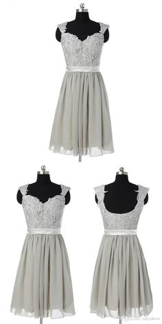Generous Scoop Sleeveless Knee-Length Grey Bridesmaid Dress with Appliques Sash