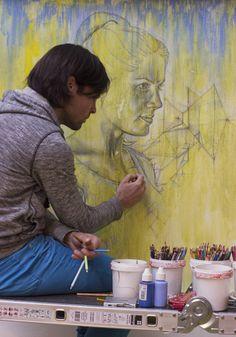 Daan Noppen drawing in his atelier november 2013    #artist  #artistatwork  #studio