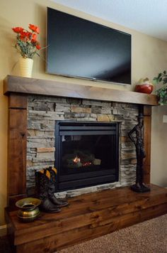 Latest Cost-Free wooden Fireplace Hearth Ideas Rustic Basement Design Ideas, Pictures, Remodel and Decor Corner Gas Fireplace, Wooden Fireplace, Rustic Fireplaces, Home Fireplace, Fireplace Remodel, Living Room With Fireplace, Fireplace Design, Fireplace Modern, Fireplace Furniture