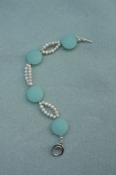 Freshwater Pearl and Aqua Sea Glass by ChelestersCreations on Etsy, $20.00