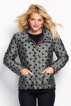 Women's Flocked Dot Lightweight Down Packable Jacket from Lands' End on Catalog Spree