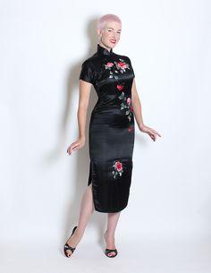 STUNNING 1950's Inky Black Pure Silk Extreme von butchwaxvintage