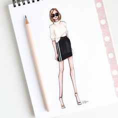 zeichnen Style of Brush by Gizem Kazancıgil gizem kazancigil Dress Design Sketches, Fashion Design Sketchbook, Fashion Design Drawings, Dress Illustration, Fashion Illustration Sketches, Fashion Sketches, Dress Drawing, Drawing Clothes, Fashion Drawing Dresses