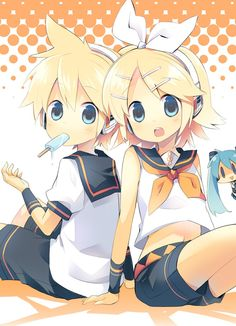 Rin and Len Kagamine (Late B-Day shout out  but don't worry, I won't have to celebrate vocaloid birthdays separate because I'll celebrate an entire Vocaloid day on January 15, the date the whole project began.)