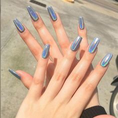Pin For Trend Presented Acrylic Nails and Matte Nails are Best Suited for Use Anywhere - Nail Art Designs 2019 (Best Nail Designs Best Acrylic Nails, Matte Nails, Glitter Nails, Holographic Nails Acrylic, Acrylic Nails Chrome, Shiney Nails, Best Nails, Acrylic Gel, Silver Nails