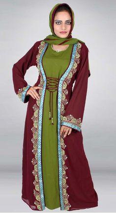Trendy Green, Marron Arabian Malikah #Abaya