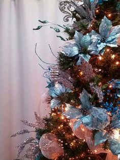 Teal Christmas Tree.  My version of a Frozen-themed Christmas tree