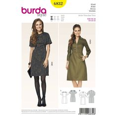 smart, casual dresses. stitched shoulder patches from imitation leather are sporty details. b with notched mandarin collar and pockets in the front panel seams. embellishing little buttons, leg-of-mutton sleeves
