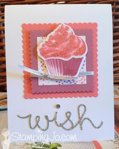 Sweet Cupcake stamp set, Cupcake Cutouts Framelits, Stampin Up, stamped card ideas, birthday card