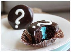 Gender reveal cupcakes.