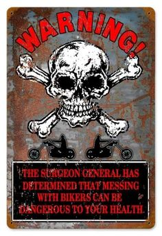 Vintage and Retro Wall Decor - JackandFriends.com - Vintage Warning Bikers Metal Sign, $39.97 (http://www.jackandfriends.com/vintage-warning-bikers-metal-sign/)