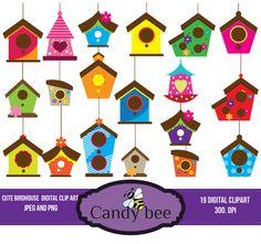 Cute Birdhouse Clipart And Vectors Download from CandybeeDesignStudio