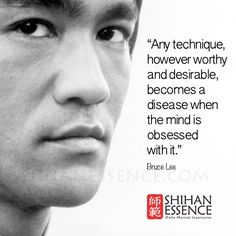 """""""Any technique, however worthy and desirable, becomes a disease when the mind is obsessed with it."""" Bruce Lee"""