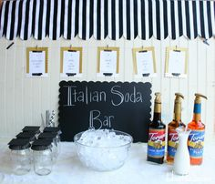 an italian soda bar for a party -- love the gold and black!!