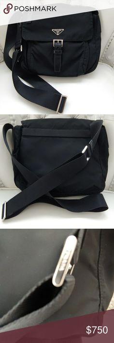 Prada Nylon Convertible Cross Body Sport Bag Prada small sport bag with  roomy interior and multiple aa906abbe0