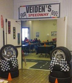 Nascar themed entrance for birthday party