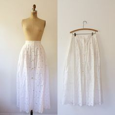 vintage lace skirt / white lace skirt / White by nocarnations