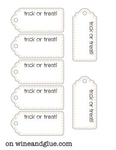 Free Halloween Treat Printables! via www.wineandglue.com