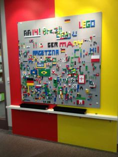 """Lego wall...boys would love this!! Maybe a good idea in their """"Superhero Lab?"""""""
