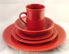 JC PENNEY Home Dinnerware 5 Place Setting Red Fall & Holiday Table