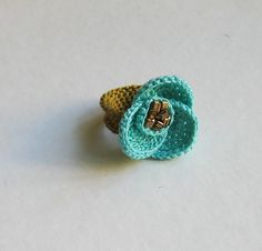 Crochet Turquoise Flower Ring - 72 Crochet Rings Free Pattern – Simple To Make Slip Stitch Crochet, Crochet Bows, Diy Crochet, Crochet Flowers, Diy Flowers, Crochet Ring Patterns, Crochet Rings, Crochet Bracelet, Textile Jewelry