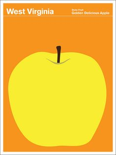 """It was back in 1972 that the State of West Virginia designated the """"Apple"""" as the official state fruit. Then in 1995 it amended the resolution to specify the golden delicious apple. Print Collection h Graphic Design Art, Graphic Design Illustration, Print Design, Golden Delicious Apple, Golden Apple, Voyage Usa, Wpa Posters, Magazin Covers, Vintage Travel Posters"""